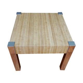 Vintage 1970s Laminate & Chrome Square End Table