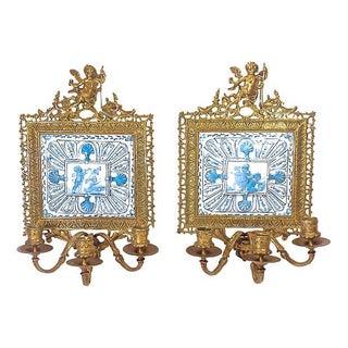 Antique Gilt Brass Faience Cherub Sconces - A Pair