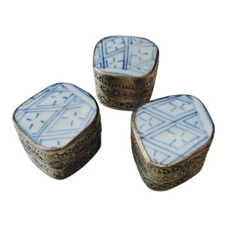 Blue & White Porcelain Trinket Box - Set of 3