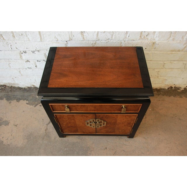 Century Furniture Chin Hua Black Lacquer & Burlwood Nightstand - Image 5 of 9