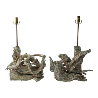 Pair of Mid-Century Modern Driftwood Table Lamps