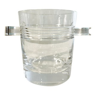 "Christofle ""Atalante"" Crystal Ice Bucket & Silverplated Ice Tongs"