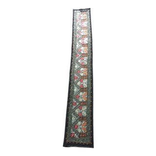Vintage Uzbekistan Embroidered Silk Suzani Wall Runner Hanging