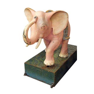 Vintage Pink Elephant Coin Operated Kiddie Ride