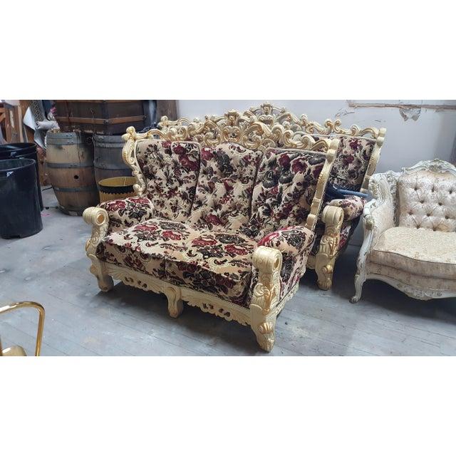 Vintage Victorian Velvet Settee - Detailed Carved Wood Frame Floral Velvet Loveseat / Large Chair - Image 3 of 4