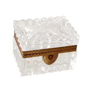 French Cut Crystal Banded Jewelry Box