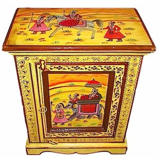 Indian Hand-Painted Mango Wood Side Table