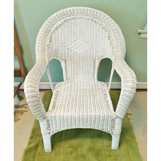 Vintage Wicker Fan Back Armchair - Image 2 of 5