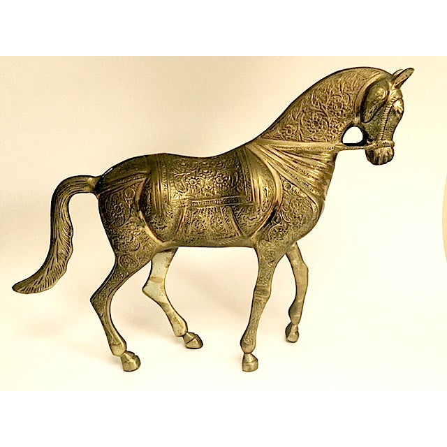 Image of Large Engraved Brass Horses - A Pair
