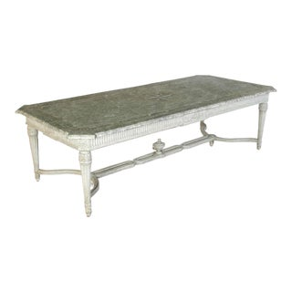 Large 19th Century French Faux Marble Top Painted Dining Room Table