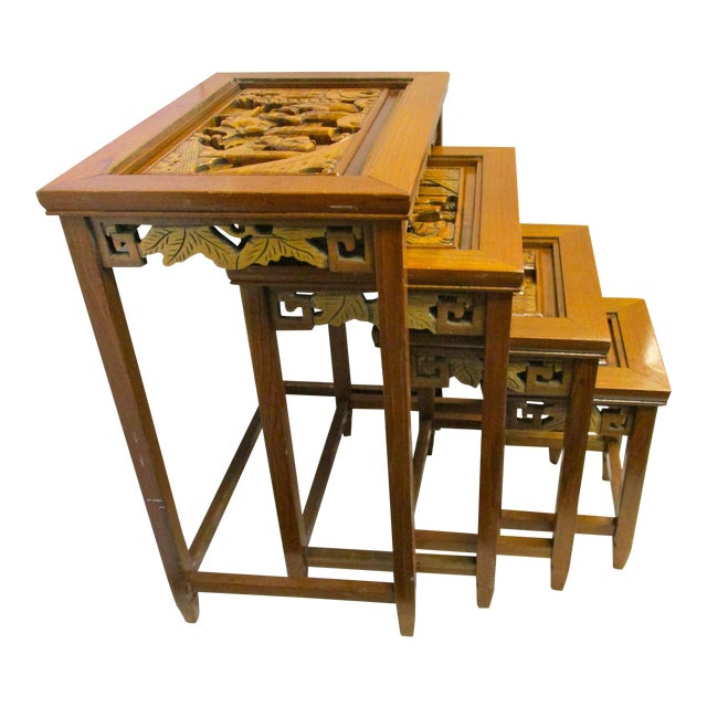 Chinese carved nesting tables set of chairish