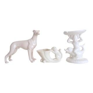 Vintage 1930's Art Deco White Art Pottery Figurines - Set of 3