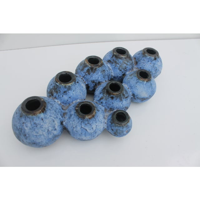 Image of Mid-Century Studio Pottery Blue Fat Lava Vase