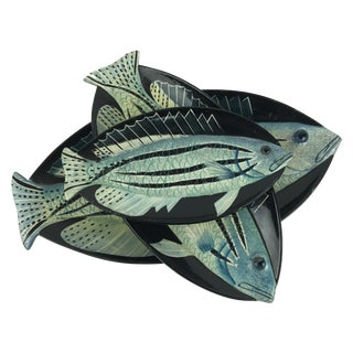 Small Japanese Lacquered Fish Trays - Set of 3