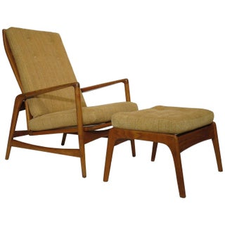 Ib-Kofod Larsen Reclining Lounge Chair And Ottoman