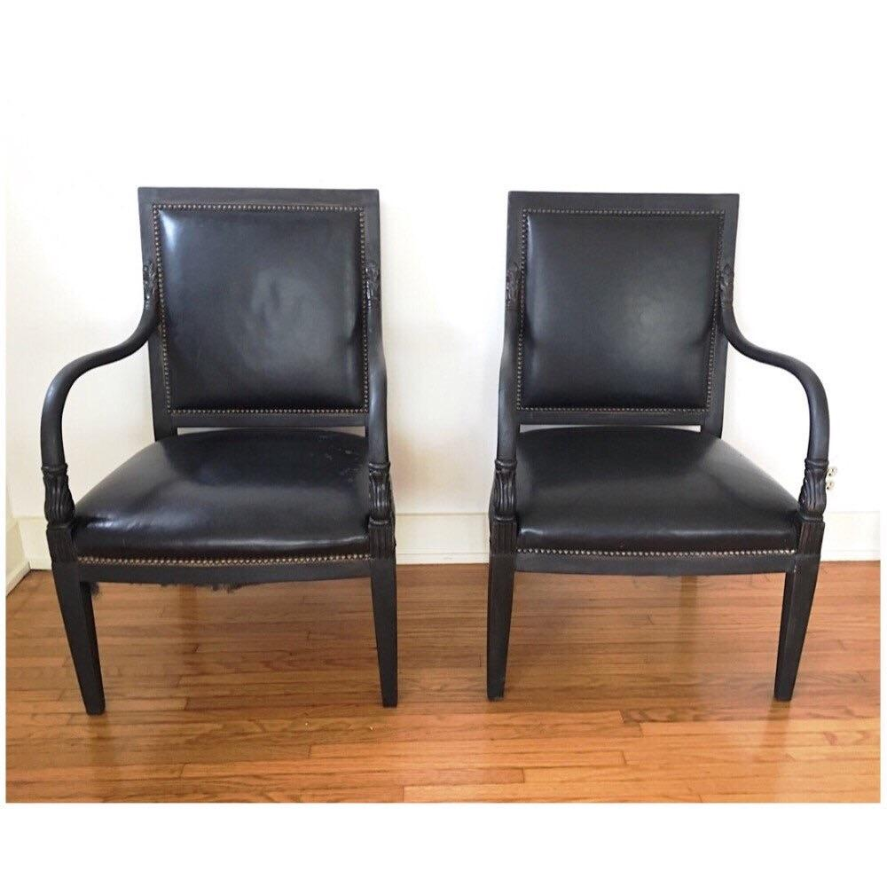 William Switzer Black Leather Arm Chairs   Pair   Image 2 Of 6