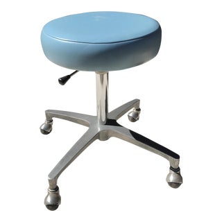 Mid-Century Adjustable Powder Blue Vinyl Stool