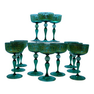11 STUNNING ANTIQUE GREEN VENETIAN CHAMPAGNE GLASSES