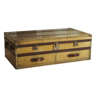 English Brass & Leather Campaign Style Coffee Table
