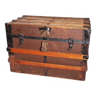 Vintage Rustic Brown Wood Steamer Trunk