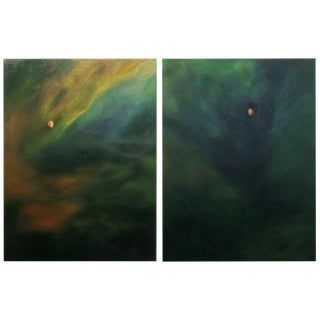 Oversized Abstract Oil Diptych Painting