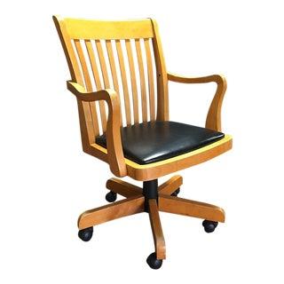 Adjustable Wood Banker's Desk Chair