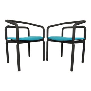 Vintage Milo Baughman Style Mid-Century Modern Metro Steelcase Arm Chairs - a Pair