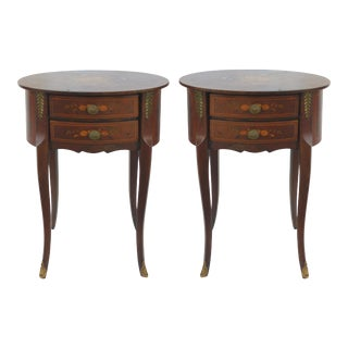 Italian Oval Side Tables With Drawers - A Pair