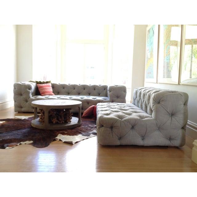 Restoration hardware soho tufted sofas set of 2 chairish for Restoration hardware tufted sectional sofa
