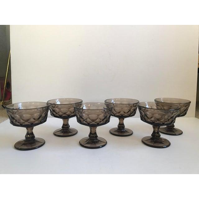 Vintage Smoked Thumbprint Glass Goblets - Set of 6 - Image 9 of 9