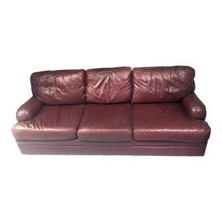 Century Furniture Burgundy Aniline Leather Sofa