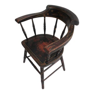19th Century Original Paint Decorated Captains Chair with Eagle and Stars