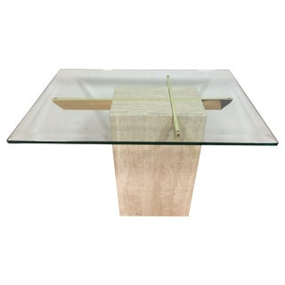 Artedi Travertine & Glass End Table