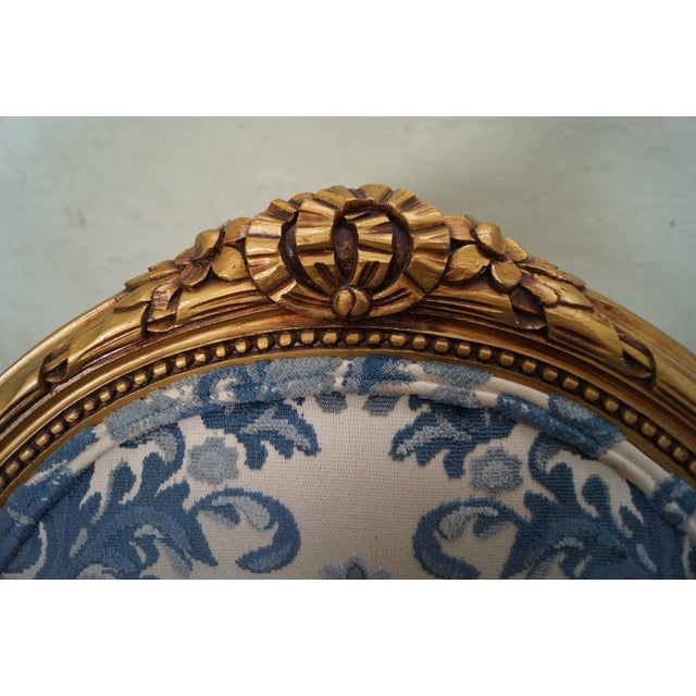 Image of Vintage Gilt French Louis XVI Chairs - A Pair
