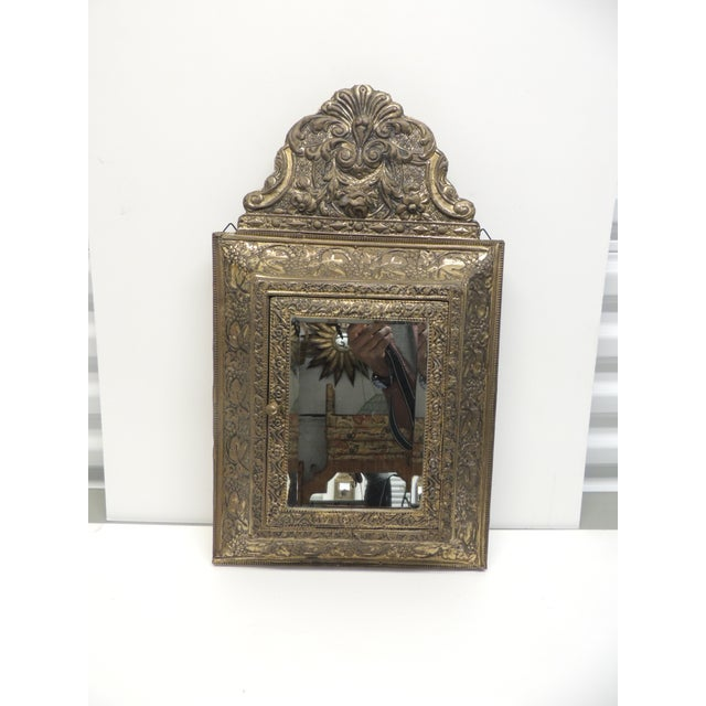 Antique Repose Brass Vanity Reliquary with Mirrored Door and Coat Brushes - Image 8 of 8