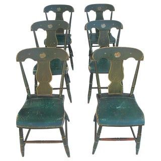 Antique Painted Pennsylvania Plank Chairs - S/6