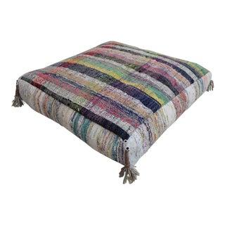 Turkish Hand Woven Kilim Sitting Cushion Rugrag Floor Pillow - 27ʺ X 27ʺ