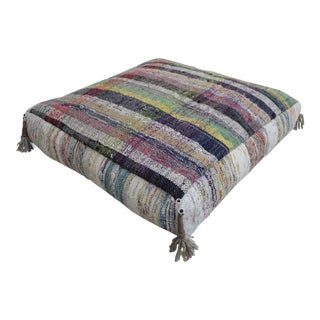 Turkish Hand Woven Kilim Sitting Cushion Rugrag Floor Pillow - 27ʺ X 27ʺ