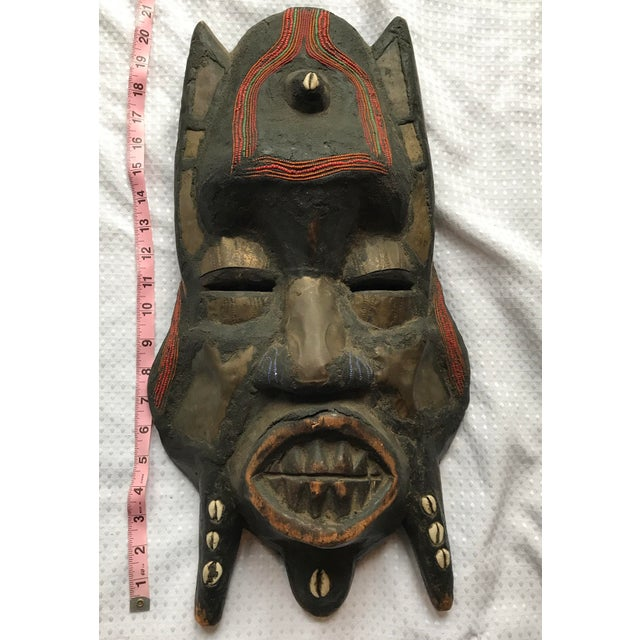 Metal Beads & Shells African Wooden Mask - Image 11 of 11