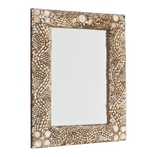 Antique Rectangular Shell Encrusted Mirror