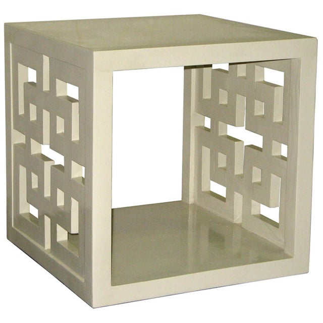 Cube Table - Creme Lacquered Lattice Panel - Image 1 of 2