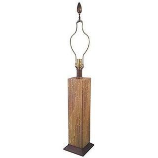 Mid-Century Ceramic Lamp on Walnut Base