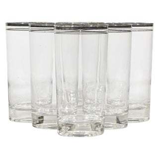 60's Double Banded Silver Tumblers - Set of 6