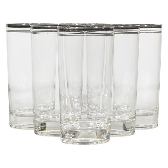 Image of 60's Double Banded Silver Tumblers - Set of 6