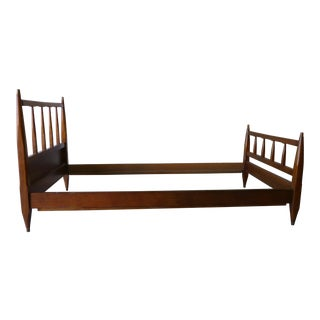 Mid-Century Modern Twin Walnut Bed