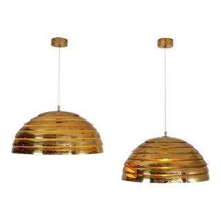 Pair of Large Brass Round Pendants, Germany, 1960s-1970s