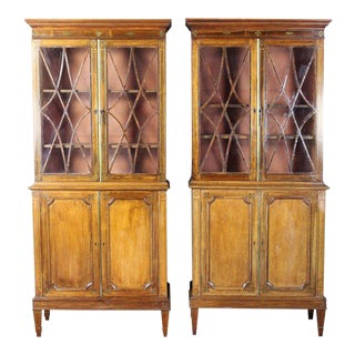 19th Century Rosewood Bookcase Cabinets - a Pair