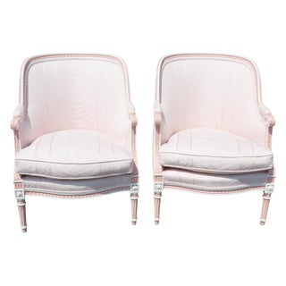 Louis XVI Style Pink Bergeres - A Pair