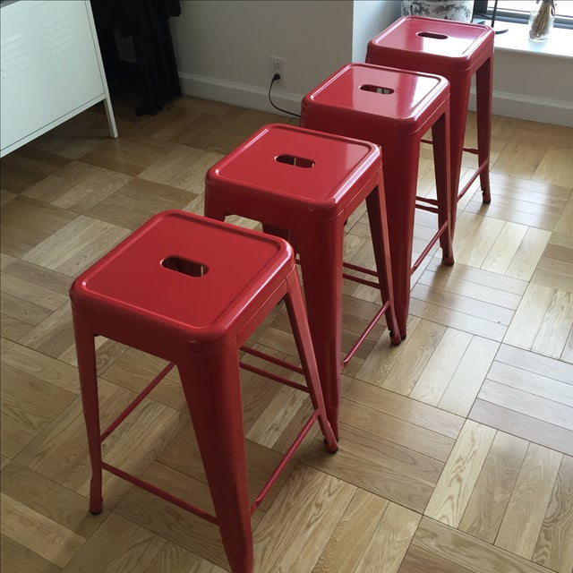 Industrial Red Metal Counter Stools- Set of 4 - Image 2 of 4