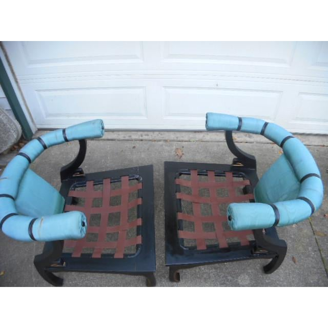 James Mont Style Asian Lounge Chairs - A Pair - Image 5 of 11